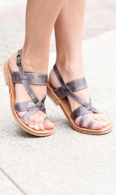 Feminine and fun grey handmade leather sandal by BEDSTU, is sure to turn any outfit into a show stopper. Tan Leather Sandals, Flat Sandals, Flats, Pumped Up Kicks, Vegetable Tanned Leather, Handmade Leather, Me Too Shoes, Open Toe, Feminine