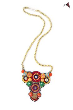 Add a pop of colors to your wardrobe with this bold statement necklace from Forty Red Bangles by Ramona Saboo.