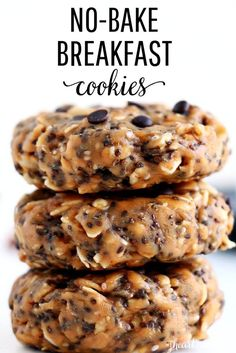 These No-Bake Breakfast Cookies are easy to make, healthy, packed with protein and simply delicious. They can be whipped up in less than 5 minutes and stored for up to two weeks. snacks healthy EASY No-Bake Breakfast Cookies mins prep!) - I Heart Naptime Good Healthy Recipes, Healthy Sweets, Healthy Breakfast Recipes, Healthy Eating, Healthy Breakfast Cookies, Healthy Kid Snacks, Healthy No Bake Cookies, Easy To Make Snacks, Oatmeal Breakfast Cookies