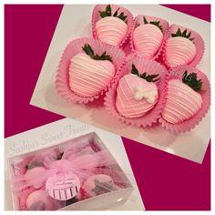 Pink chocolate covered strawberries