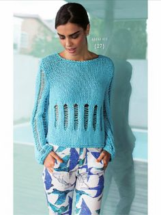 : from Lanas Stop 130 Primavera 2015 Mens Knit Sweater Pattern, Sweater Knitting Patterns, Knitting Designs, Hand Knitting, Knitwear Fashion, Knit Fashion, Sweater Fashion, Crochet Blouse, Knit Crochet