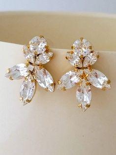 White clear diamond crystal stud earrings by EldorTinaJewelry