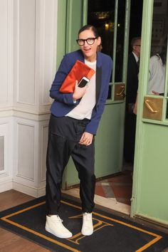 sexy nerd -- colorful jacket and clutch in classic shapes.