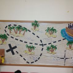 Treasure map bulletin board! We did this for or pirate themed party !
