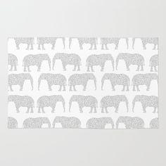 Geometric+Elephant+grey+monochromatic+minimal+gray+and+white+kids+children+pattern+print++Rug+by+CharlotteWinter+-+$28.00