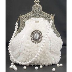 Antique White Victorian Gothic Goth Cameo Beaded Clutches Purses Bags SKU-11408003