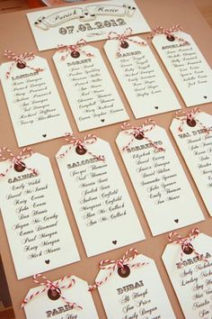 Luggage Tag Escort Cards #table plan