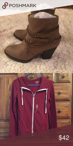 Bundle for Amy JustFab Booties and Burgundy Sweater JustFab Shoes Ankle Boots & Booties