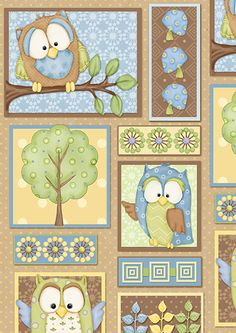 You Whoo! Blue Patchwork 6107 11 (Henry Glass)