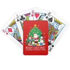 Santa's friends bicycle playing cards - merry christmas diy xmas present gift idea family holidays