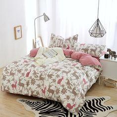 小清新针织棉四件套活性印花小鹿全棉卡通床上用品裸睡天竺棉套件