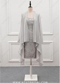 Elegant Lace & Chiffon Scoop Neckline Knee-length Sheath Mother Of The Bride Dress With Detachable Coat