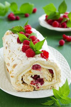 Photo about Meringue roulade with cream and raspberries. Sweet Desserts, Just Desserts, Sweet Recipes, Cake Recipes, Meringue Roulade, Meringue Cake, Pavlova, Russian Desserts, Special Recipes