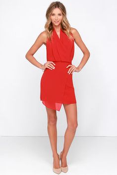 Cute Red Dress - Wrap Dress - Sleeveless Dress - $86.00