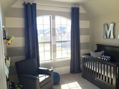 Little man nursery. Baby boy. Mustache. Be brave. Dream big. Gray stripes. Grey. Navy blue. Revere Pewter paint color. Chevron.