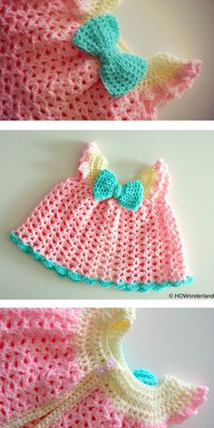 Tiny clothes like dresses are totally adorable, especially on Crochet Baby Dress Free Pattern, Baby Girl Crochet, Crochet Baby Shoes, Crochet Blanket Patterns, Cute Crochet, Knit Crochet, Crocheting Patterns, Crochet Potholders, Crochet Doll Clothes