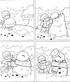 Temporales para recortar y colorear! Sequencing Pictures, Story Sequencing, Sequencing Activities, Winter Kids, Winter Art, Classroom Crafts, Classroom Activities, Winter Thema, 4 Image