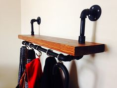 Custom Shelf Coat Rack with Stainless Steel by PipeLineCreations