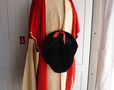 Antique Thos Brown & Son Manchester red wool University graduation gown and black hat