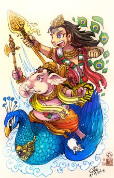 Brothers by In-Sine on DeviantArt Ganesha Drawing, Lord Ganesha Paintings, Lord Shiva Painting, Ganesha Art, Krishna Art, Shri Ganesh Images, Ganesha Pictures, Lord Shiva Sketch, Lord Murugan Wallpapers