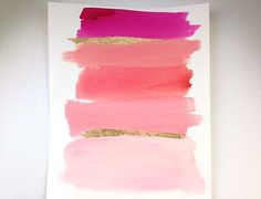 Pink Watercolor ORIGINAL Painting Gold Foil by BeachHouseGallery, $32.00