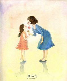 妈妈~我爱你-度薇年_度薇年,插画,水彩,手绘_涂鸦王国插画