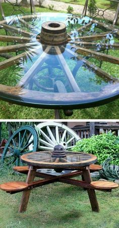 Unique seating for a rustic farm feel.