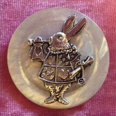 "1.5"" Rabbit Alice In Wonderland Overlay Vintage Shell Metal Shank Button Sewing"