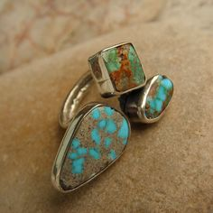 Turquoise ring  Turquoise  Boho ring Silver ring Gemstone  Handmade ring Vintage ring Turquoise Jewelry  Jewelry  Rings  Multistone ring Genuine Turquoise
