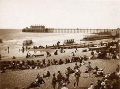 Sussex, Brighton Beach & Pier circa An amazing photo - bathing boxes in the water for the women, guys (striped jackets) playing musical instruments. Brighton East Sussex, Brighton And Hove, Brighton Sea, Old Pictures, Old Photos, Town Drawing, Images Of England, British Seaside, Abandoned Places