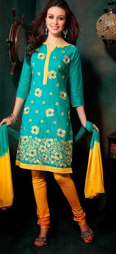 $32.15 Blue Thread Work Casual Wear Cotton Churidar Salwar Kameez 26255
