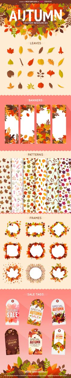 Different types of isolated leaves, decorated banners and frames waiting to be filled with your own content and messages. A pack of 6 trendy patterns are also available as well as autumn sales and discounts tags ready to be launched. Definitely the perfect autumn tool kit for any designer.