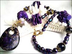Purple Impression Jasper,Agate,Glass Pearl Necklace and Earrings Set | specialtivity - Jewelry on ArtFire