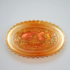 Imperial Glass Windmill Dresser Tray, Antique  Marigold Carnival Glass with Pink Highlights,  Collector's Condition, Gift or Home Decor by LiliesLegacies on Etsy