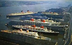 """shipsofyore: """" The New York piers in the From the botton to the top one can see the Independence the SS America the SS United States the TSS Olympia the air craft carrier USS Intrepid the RMS Mauretania. Rms Queen Elizabeth, Queen Mary, Cunard Ships, Rms Mauretania, Uss Intrepid, Independence Of The Seas, Cruise Port, Cruise Ships, Merchant Navy"""