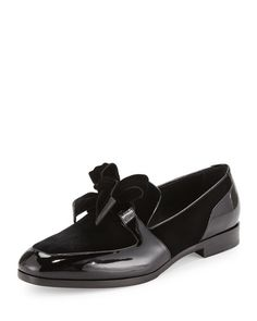 Jimmy Choo Fred Men's Formal Patent Leather Shoe with Velvet, Black