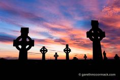 Celtic crosses at sunset, Co Sligo, Ireland. Stock Photo