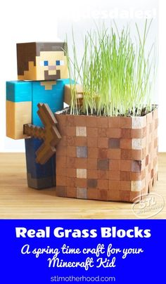 Does your kid love like mine does? Then here's a craft to pull your kid away from the screen for a few minutes! Make this real Minecraft Grassblock from supplies you probably have in your craft stash. Minecraft Activities, Minecraft Projects, Minecraft Crafts, Minecraft Furniture, Boys Minecraft Bedroom, Minecraft Room, Minecraft Garden, Minecraft Blocks, Minecraft Comics
