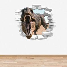 Full Colour dinosaure T-Rex Coming Par un Sticker Mural en vinyle pour chambre de garçon Motif tyrannosaure Rex avant Historique
