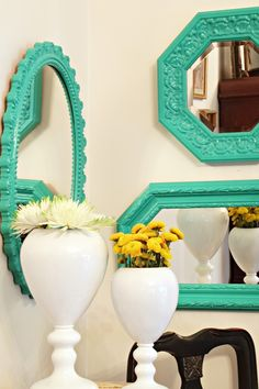 Painted mirrors using Emerald Green, Pantone's color of the year.  #Lowescreator