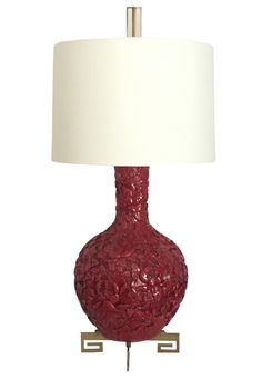 Buy Red Carved Mid - Century Vase  Table Lamp  by James Logan Furnishings - Limited Edition designer Lighting from Dering Hall's collection of Mid-Century Modern Table Lighting.