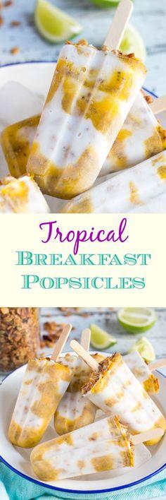 Tropical Vegan Breakfast Popsicles. Perfect for breakfast on the run.