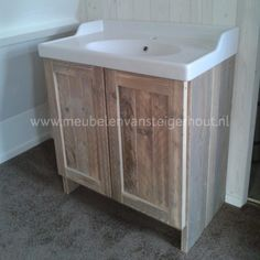 Badkamerkast steigerhout voor Ikea wastafel