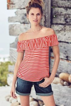 Buy Red Stripe Bardot Top from the Next UK online shop Bardot Top, Next Uk, Uk Online, Spring Outfits, Spring Summer, Red, Stuff To Buy, Shopping, Clothes