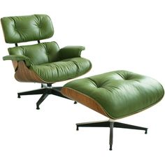 charles eames green leather lounge chair & ottoman