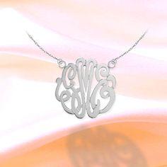 Monogram Necklace 3/4 inch Sterling Silver by SilverJewelryArcade, $49.99