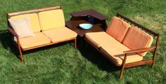 This is a great condition Mid Century Modern Baumritter Sectional with matching Side table. The listing is for all three pieces which are very hard to