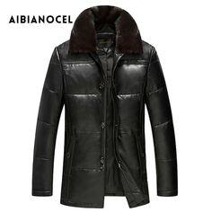 AIBIANOCEL New Winter Men Genuine Leather Coat Sheepskin Mink Collar Real Leather Down Coat Men's Leather Jacket Warm Winter