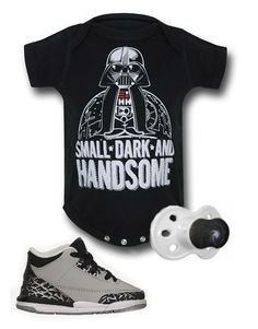 Star Wars inspired kids outfit by Mary Huth. Onesie: https://www.superherostuff.com/star-wars/infant-bodysuits/star-wars-darth-vader-infant-snapsuit.html?itemcd=infsnapstrwrsvdr&utm_source=pinterest&utm_medium=social&utm_campaign=featuredoutfit Shoes: http://store.nike.com/us/en_us/pd/air-jordan-retro-3-shoe/pid-1481708/pgid-746008 Pacifier: http://www.zazzle.com/outer_space_pacifier-256273616387763165