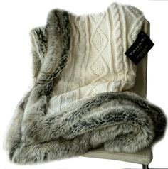 Amazon.com - Tahari Luxury Cable Knit Throw with Faux Fur Trim Freya Knitted Sweater Blanket in Winter White and Chinchilla Grey -